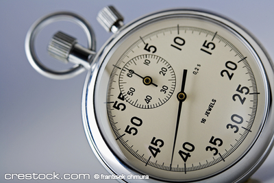 close-up of a stopwatch isolated on white background